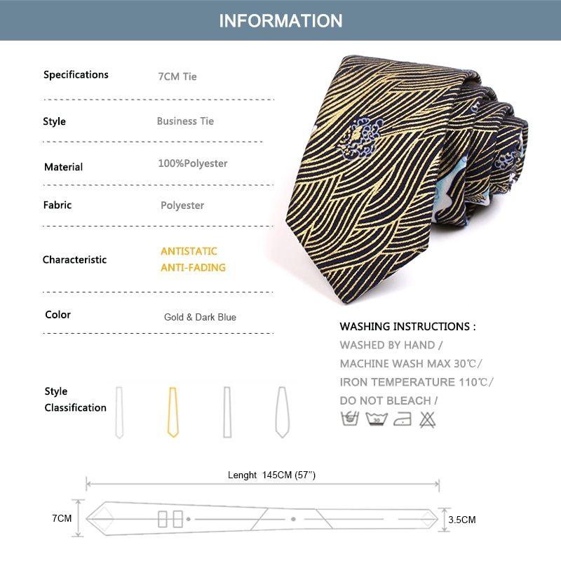 2020 New Design Wave Print  Neck Tie High Quality Mens Fashion Formal 7CM Tie for Men Business Suit Work Necktie with Gift Box