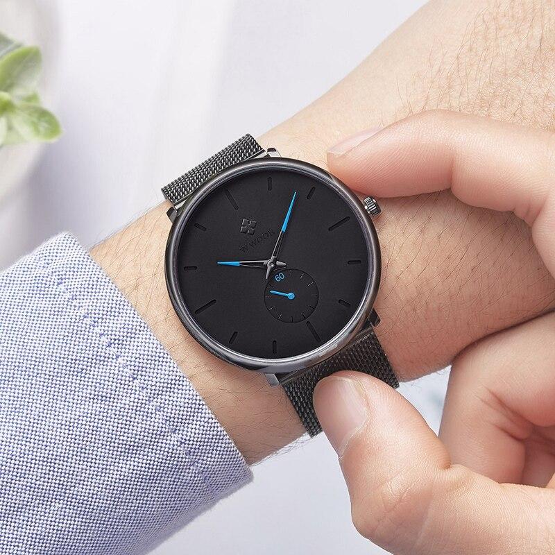 WWOOR Men Black Minimalism Watch Top Luxury Mesh Steel Quartz Wrist Watches Man Ultra thin Waterproof Watch For Men reloj hombre