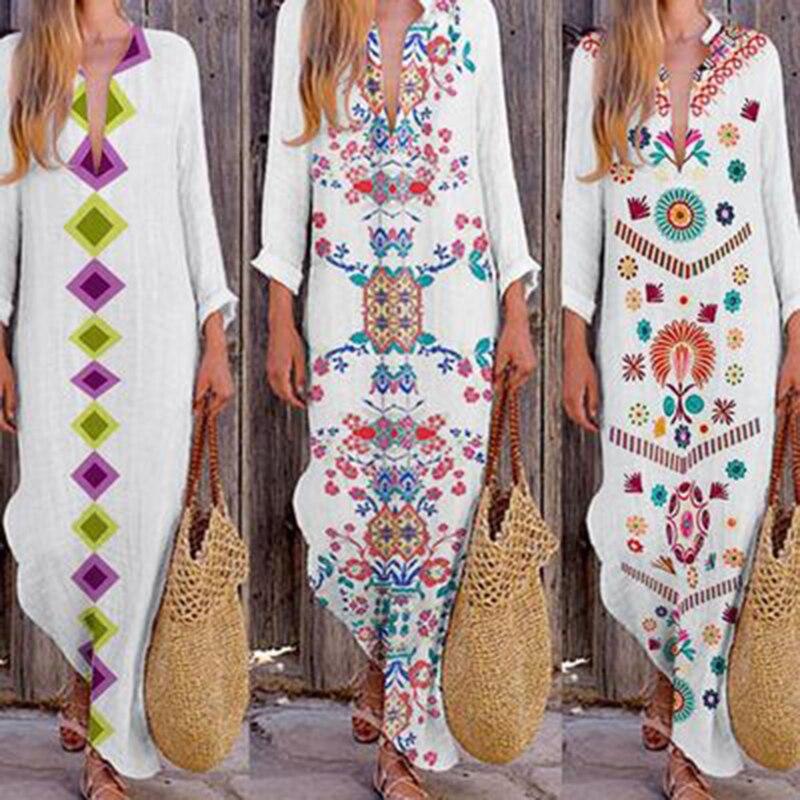 Verano mujeres señoras vestido de moda suelta de algodón de lino Maxi Vestido de manga larga Casual bohemio Kaftan túnica étnica gitana