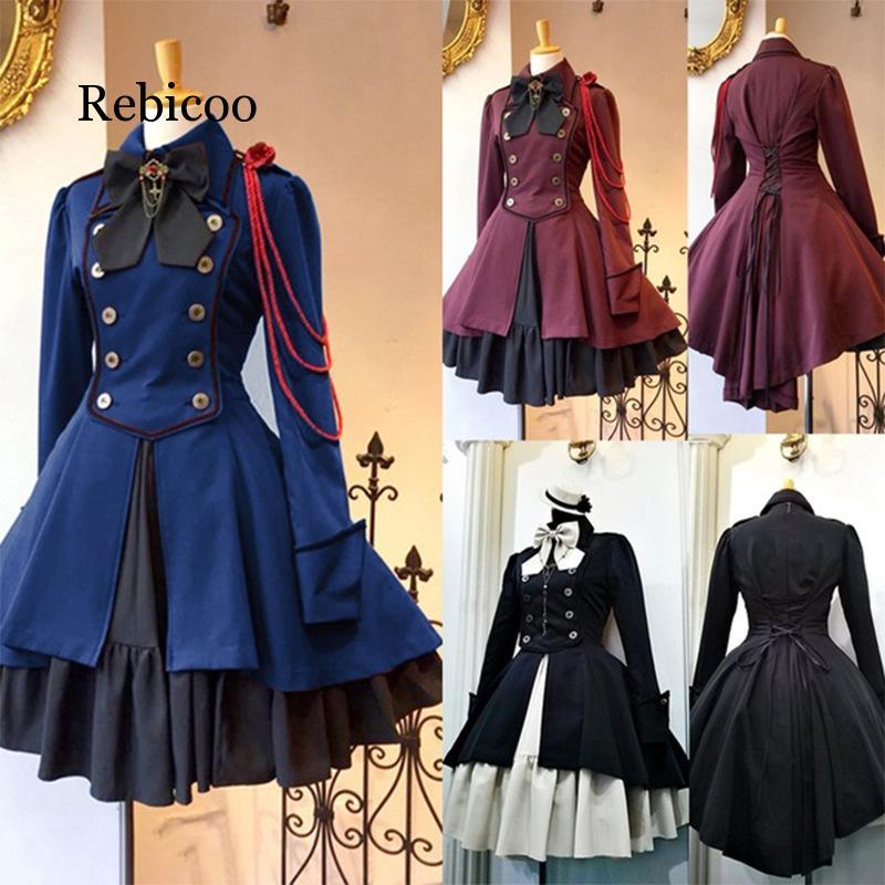 Renaissance feminino vintage arco babados vestido estilo gótico senhoras vestidos lolita elegante manga longa festa de chá cosplay robe vestido