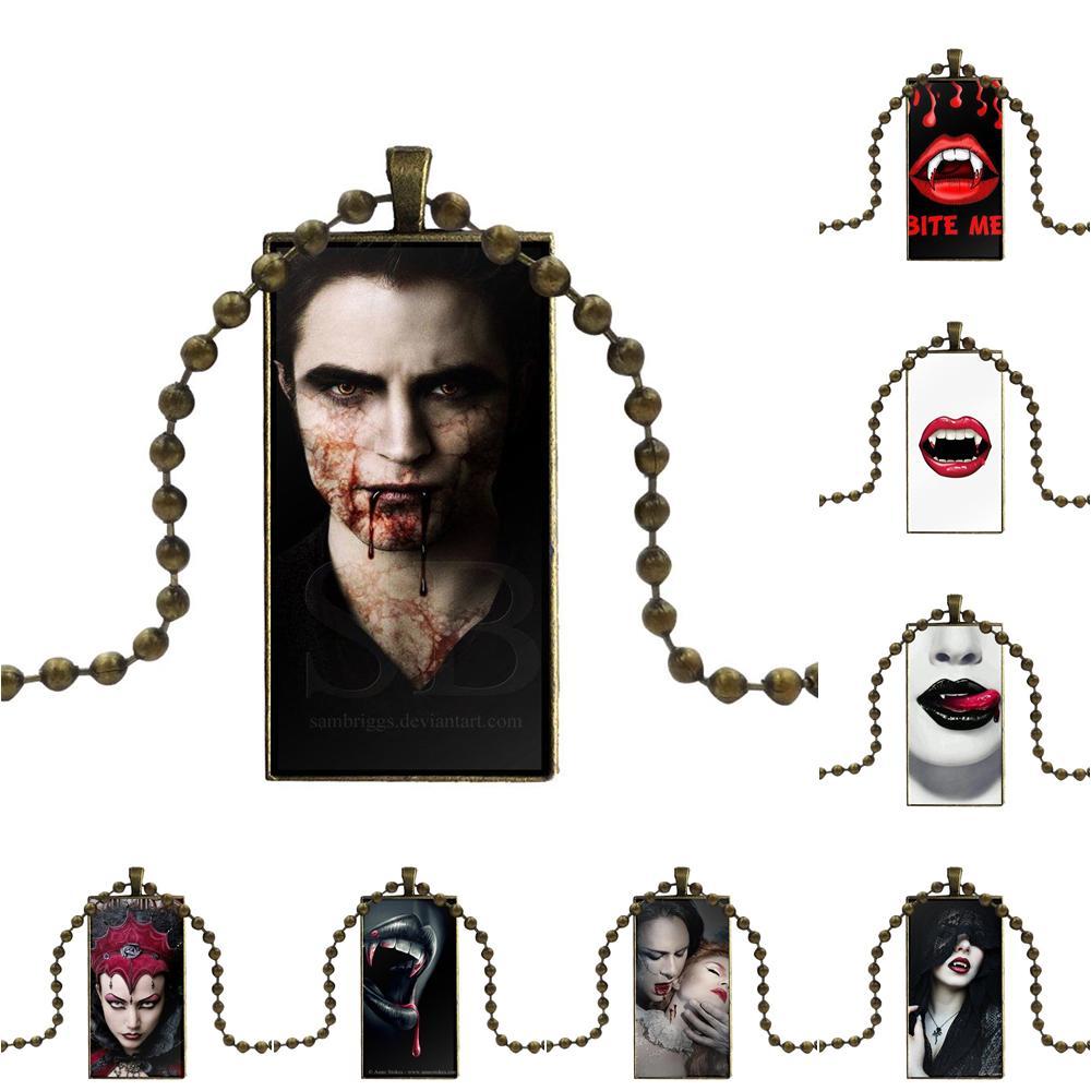 Para mujeres fiesta morder Me sangre Sexy labios vampiro dientes collar de colmillos de moda larga cadena con collar con dije de rectángulo joyería