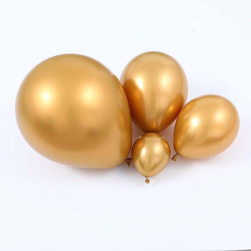Купить с кэшбэком 147pcs White Gold Balloon Garland Arch Kit  Gold Dot Chrome Metallic Latex Ballon Wedding Birthday Party Decor baby Shower Globo