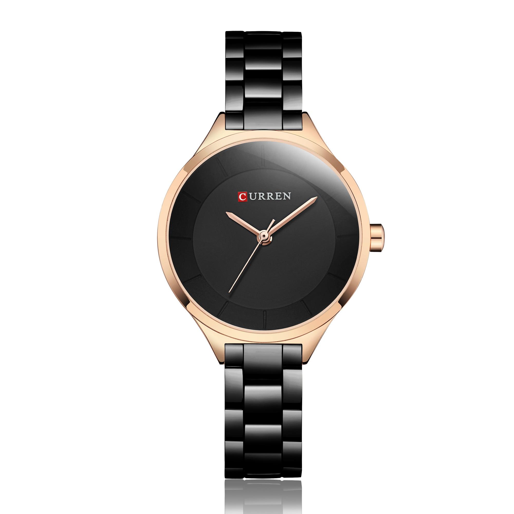 CURREN Woman's Watch Luxury Zegarek Damski Simplicity Modern Quartz Watches Black Stainless Steel Waterproof Montre Femme 2019 enlarge