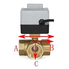 3 Weg Motorkogelklep Gemotoriseerde Elektrische Kogelkraan 3 Lijn Twee Manier Controle AC220V DN15 DN20 DN25 DN32 Met handmatige Schakelaar