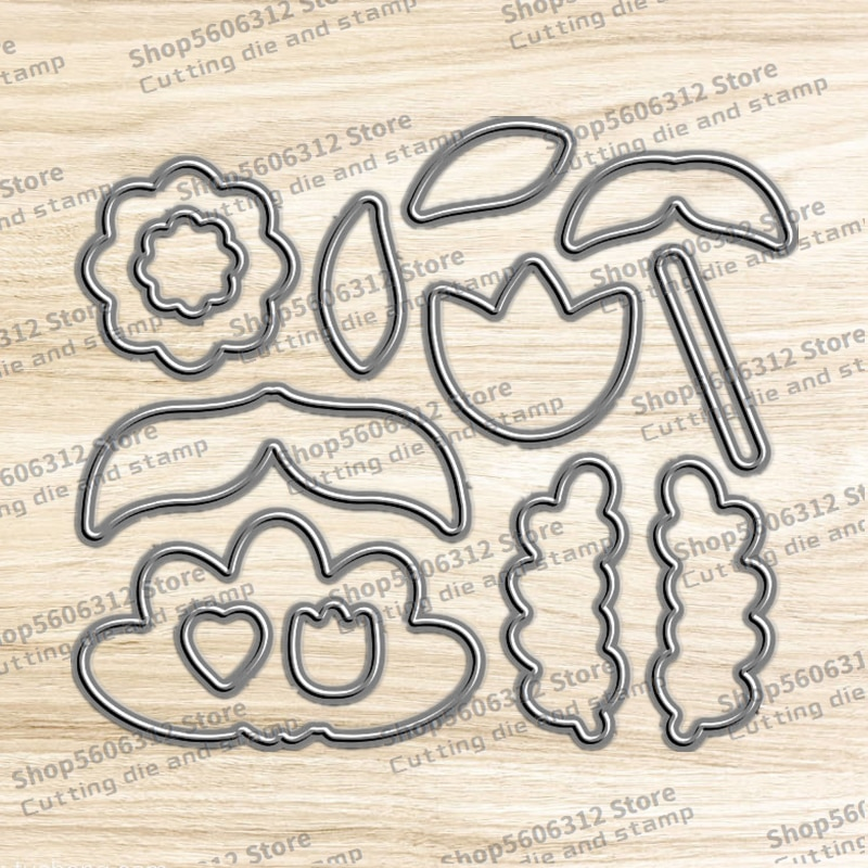 New 2021 Metal Cutting Dies and Clear Stamps Scrapbooking for Paper Making Petal Stratify Flower Embossing Frames Card Craft Set