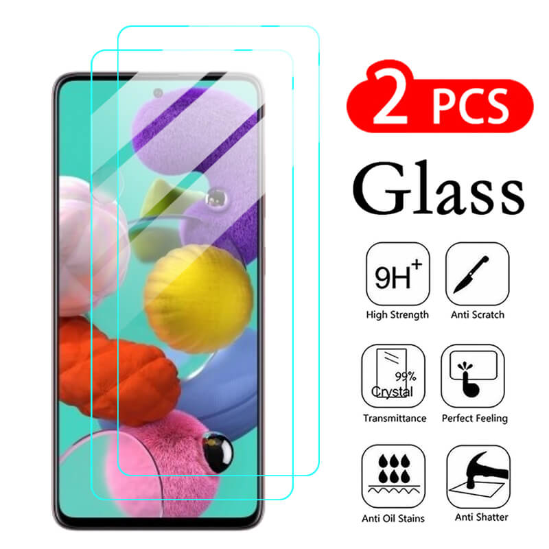 2Pcs Samsun A51 Protective Glass For Samsung Galaxy A21s A31 A41 A01 A11 A21 A71 A51 Glass on Galaxi A515F A 51 Screen Protector