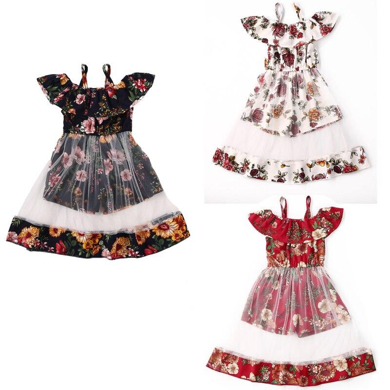 1-4Years bebé niñas Tutu fiesta boda Vestido floreado de princesa vestido