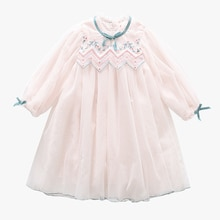 Tz Boutique 2021 New Baby Girl Spring Children's Skirt Girls Pattern Collar Dress Middle and Small C
