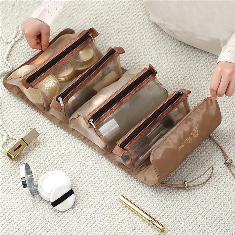 Travel Cosmetic Bag Women Mesh Make Up Box Bags Beautician Necessarie Toiletry Makeup Brushes Lipstick Storage Organizer