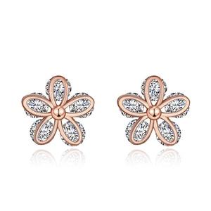 TE032 Elegant Flower 925 Sterling Silver Zirconia stone Earring For women Wedding Jewelry