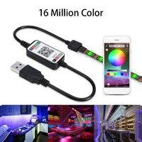 Mini USB Bluetooth/Wifi RGB LED Controller Remote 5V 5050 3528 LED Strip Li T8Z9 plastic Night Led Light Home Decoration
