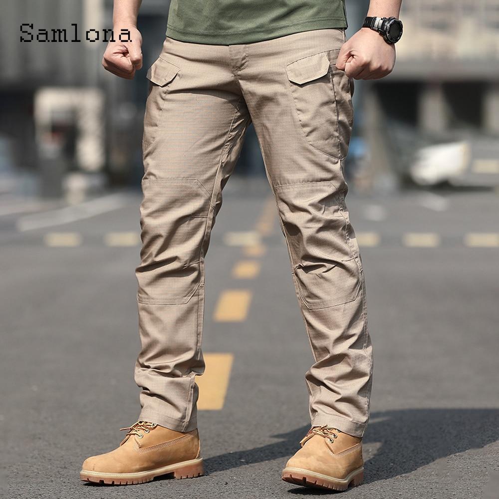 Samlona Plus Size Mens Cargo Pants 2021 European Style Pants Male Streetwear Fashion Zipper Pockets Trouser Outdoor Casual Pant zipper fly pockets embellished plus size cargo pants