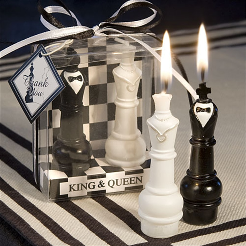 Chess king queen wedding candle creativity Marriage in return wedding cake decorated with smokeless candles hot sale