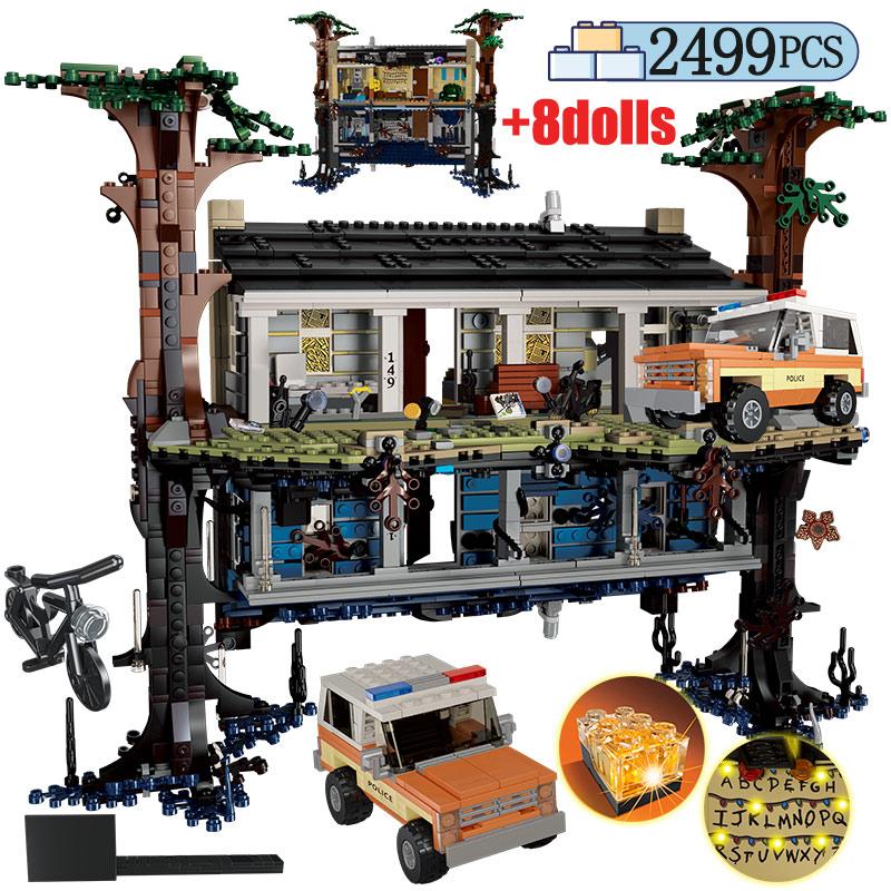 2499 Uds City Turning the World Room al revés bloques de construcción casa del árbol extraño cosa amigos juguetes para niños