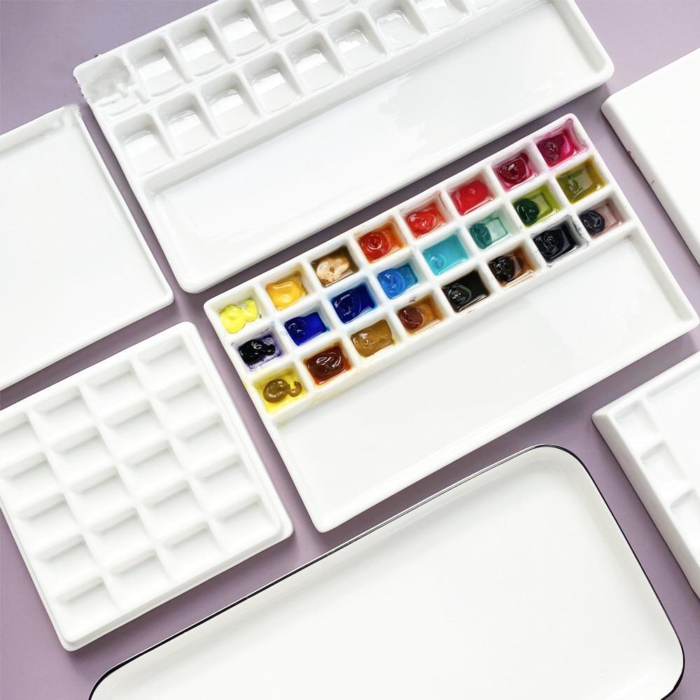 High quality Ceramic watercolor palette rectangular multi-grid white porcelain palette art supplies paint palette with lid