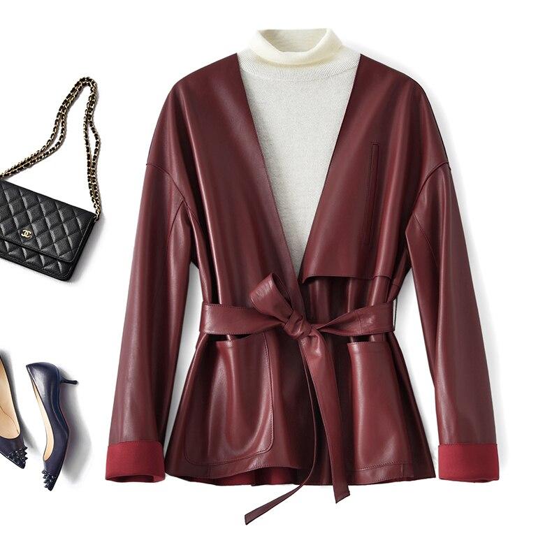عالية الجودة حقيقية جلد الغنم معطف الإناث موضة بسيطة ضئيلة ريال سترات من الجلد المرأة ربيع الخريف Cuero Genuino Zjt1731