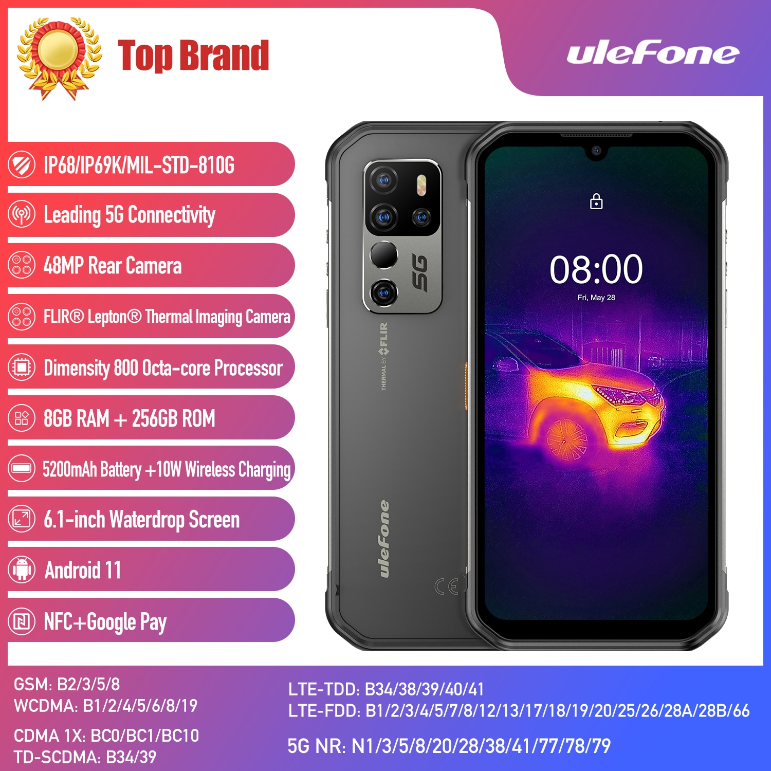 Ulefone Armor 11T 5G Rugged Smartphone FLIR® Thermal Imaging Camera 8GB 256GB 6.1'' Android 11 Mobile Phone Support OTG NFC