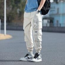 2021 Oversized Men Cargo Pants Streetwear Black Mens Jogging Sweatpants Casual Elastic Waist Harem P