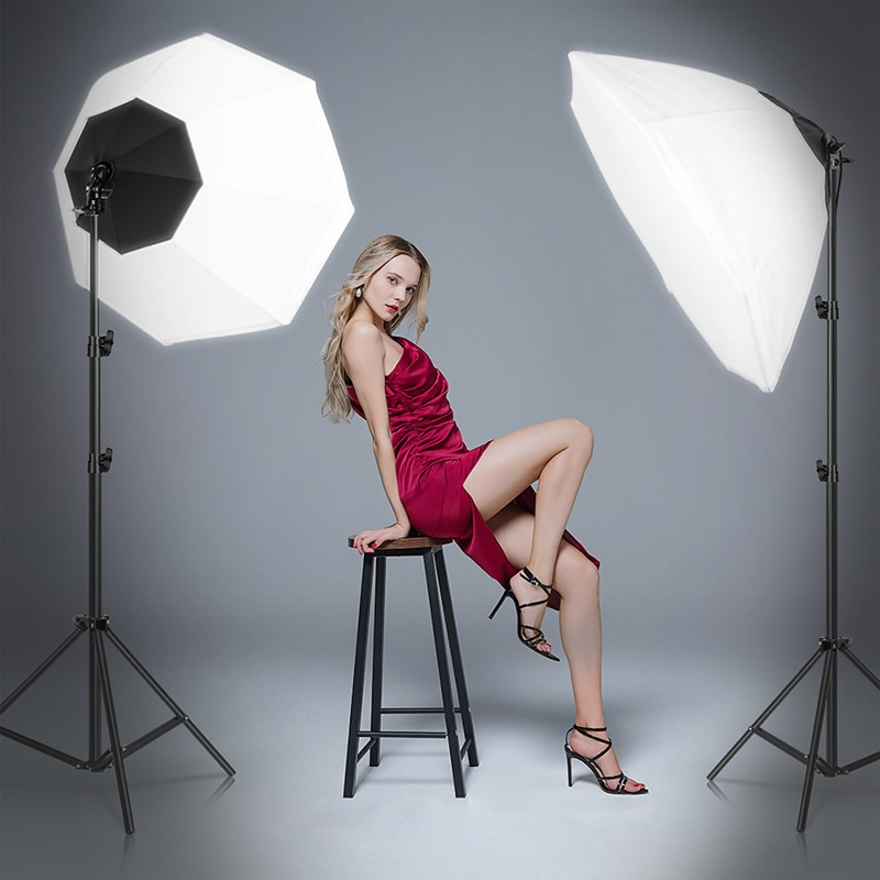 SH Softbox Lighting Kits Octagon Umbrella Photography Light Kit 45w Led Bulb Continuous Lighting for Photo Studio with Carry Bag enlarge