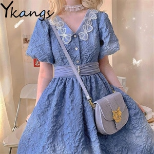 Blue Lace Up Pearl Fairy Dress Ruffles Sweet Elegant Vintage Princess Vestidos Puff Sleeve Summer New Party Doll Collar Costume
