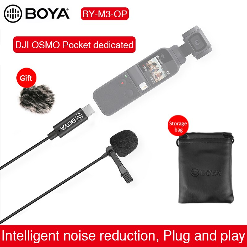 BOYA BY-M3-OP Lavalier ميكروفون ل DJI oomo جيب فيديو استقرار Gimbal USB نوع-C Vlog فيلم تسجيل الفيديو الرقمي Mic