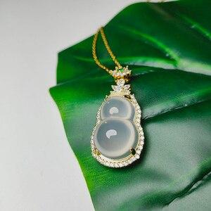 Charm  Hetian nephrite chalcedon bottle gourd pendant Stylish Elegant Blessing Necklace women Gift Wedding Present Free Shipping