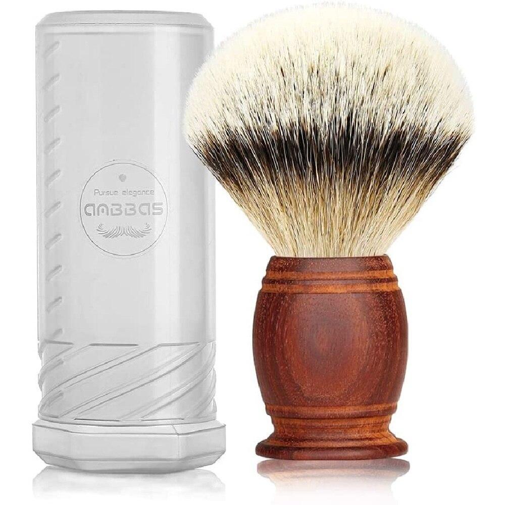 4.9inches Pure Badger Shaving Brush Silvertip Badger Hair Quality Rosewood Handle for Wet Shaving Soap Cream for Men Gift
