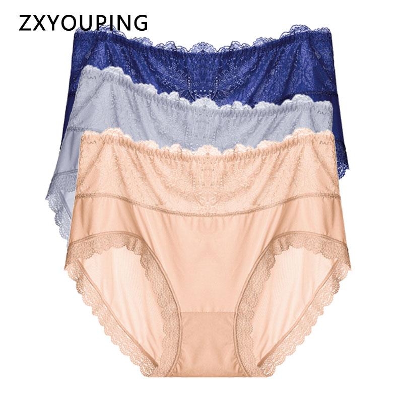 Women Ice Silk Panties High Waist Big Size 3XL-5XL Underwear Lace Sexy Breathable Briefs Seamless Soft Comfortable Lingerie 2020