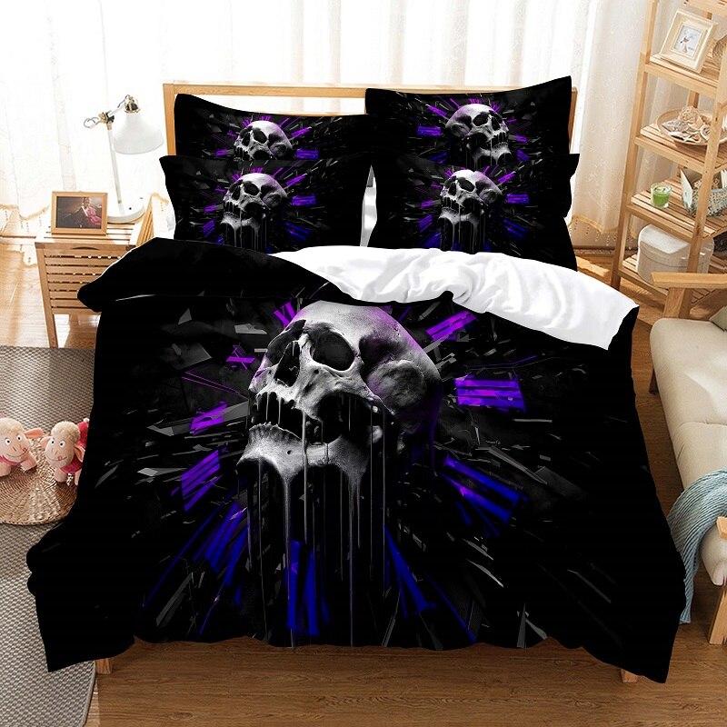 طقم أغطية سرير بطباعة رقمية ثلاثية الأبعاد ، طقم سرير مع غطاء لحاف ، مقاس كوين ، تصميم عصري