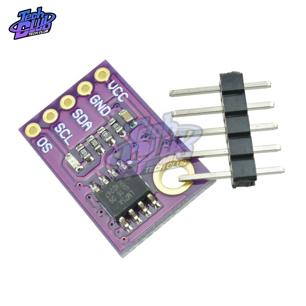Lm75 sensor de temperatura módulo temp sensor alta velocidade i2c iic interface alta precisão lm75a