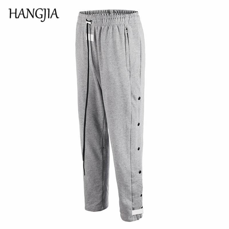 Vintage Mens Terry Velcro Sports Pants Streetwear Hip Hop Joggers SweatPants Cotton Side Buckle High Quality Casual Pants