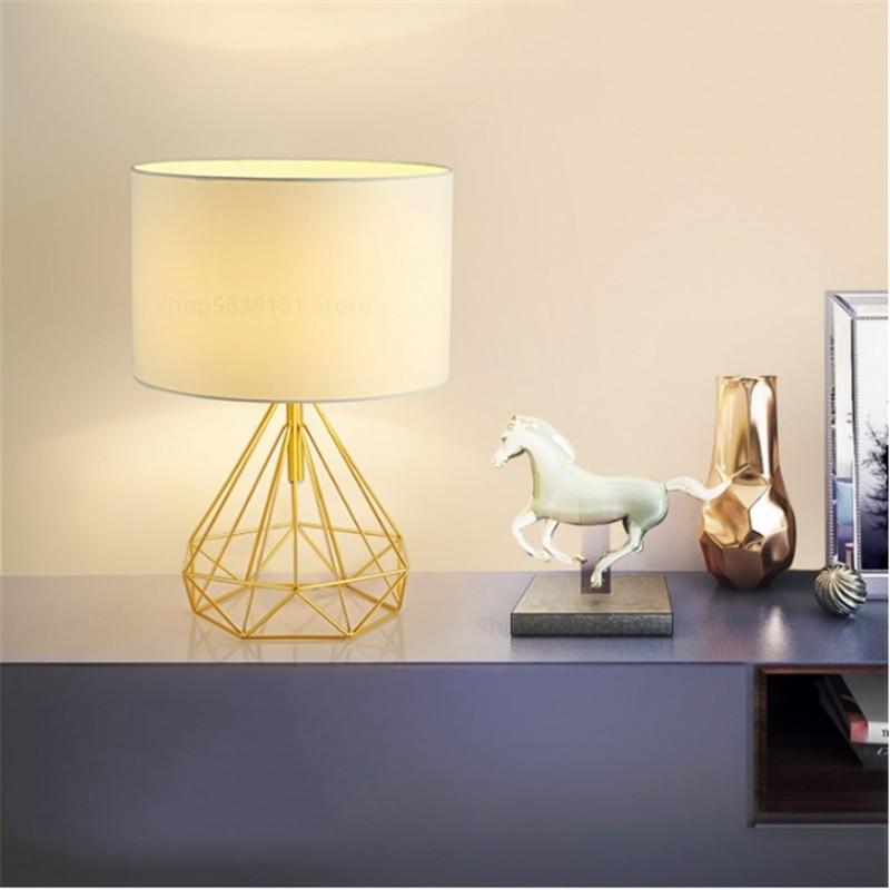 Nordic retro geométrico lâmpadas de mesa para sala estar tambor sombra quarto lâmpada cabeceira casa deco sala estudo criativo luminárias