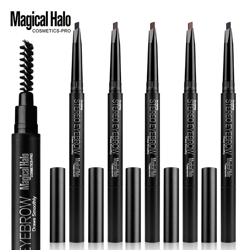 5 Colors Double-head Rotating Eyebrow Pencil Waterproof Lasting Natural Eyebrow Makeup Template DIY