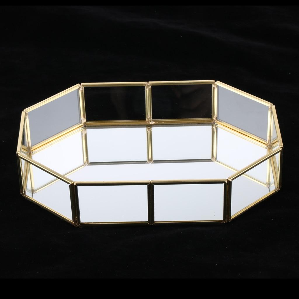 Gold Metal Glass Cosmetic Storage Box, Decorative Tray, Jewelry Storage Tray
