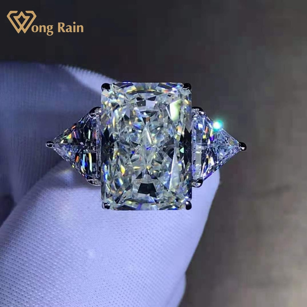 Promo Wong Rain Fashion 925 Sterling Silver 6 CT Princess Cut D Created Moissanite Wedding Engagement Customized Rings Fine Jewelry
