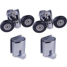 Set of 2 Shower Door Rollers/Runners/ 2 Hooks/Guides 25mm Wheels Diameter904H/106