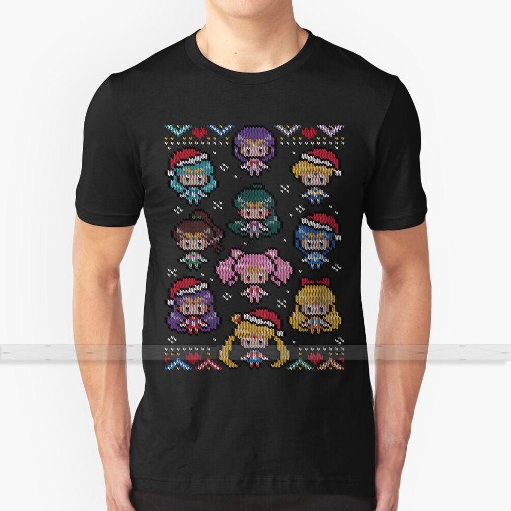 Camiseta navideña con estampado 3D de feliz Senshi para hombre, camiseta de verano con cuello redondo para mujer, Jersey Xman de Navidad feo hecho A mano