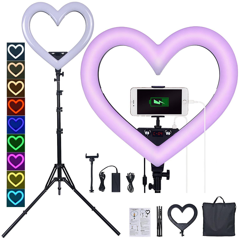 FOSOTO 19 بوصة Led RGB مصباح مصمم على شكل حلقة القلب شكل التصوير الإضاءة 3200K-5600K حلقة مصباح مع ترايبود للهاتف يوتيوب ماكياج