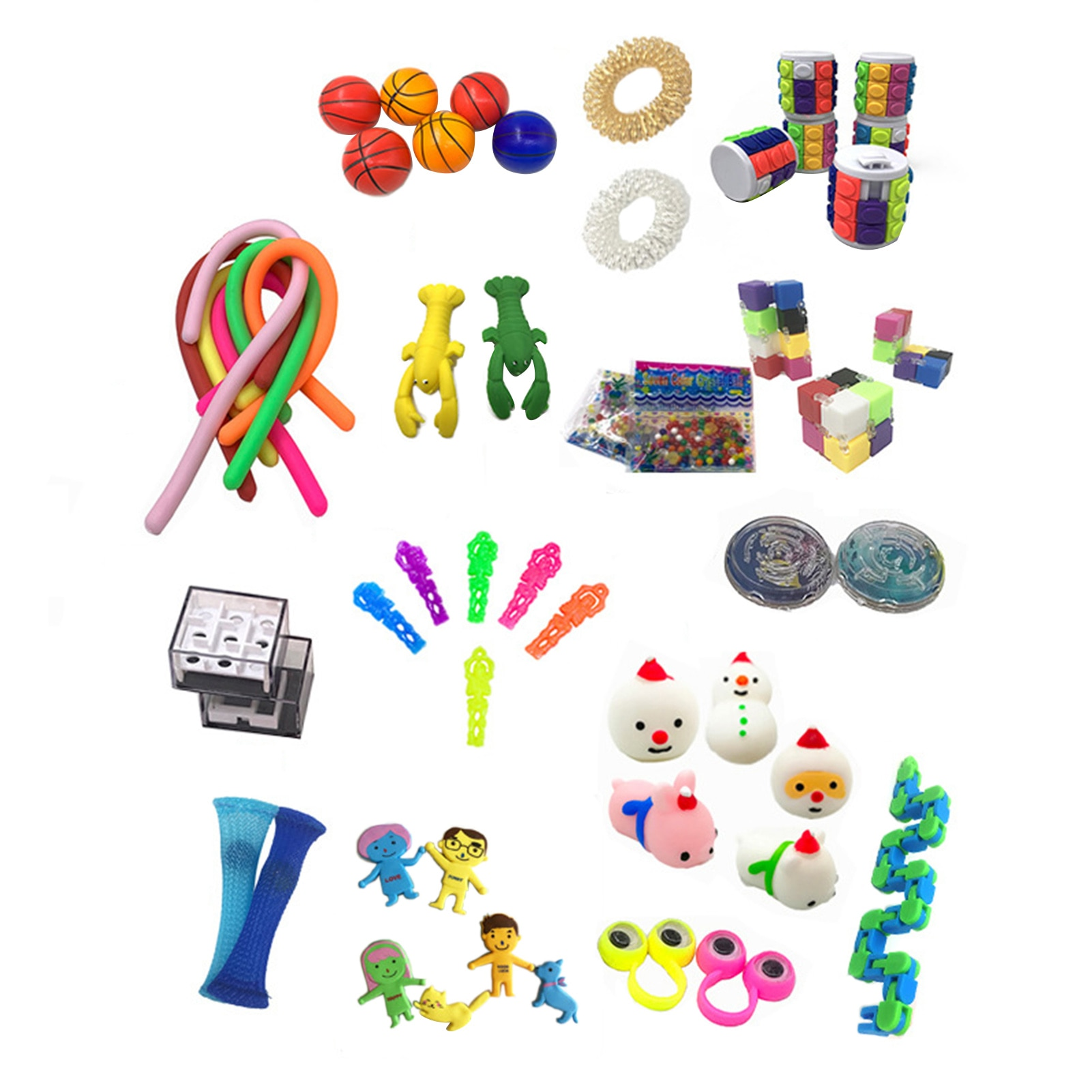 50Pcs/Pack Fidget Sensory Toy Set Stress Relief Toys Autism Anxiety Relief Stress Pop Bubble Fidget Sensory Toy For Kids Adults