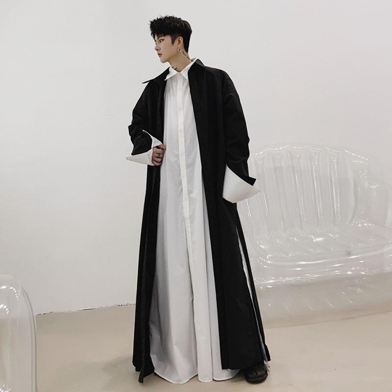 Männer Robe Lange Hülse Lose Shirt Strickjacke Mantel Männlichen Japan Streetwear Gothic Lange Stil Casual Shirts Jacke Bühne Kleidung