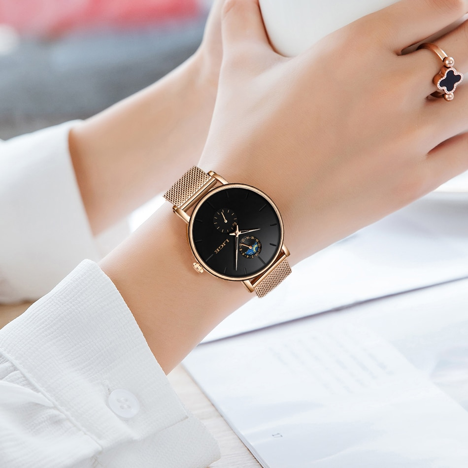 New Women Watches  LIGE Luxury Brand Simple Moon phase Quartz watch Lady Fashion casual Waterproof Clock Female reloj mujer 2019 enlarge
