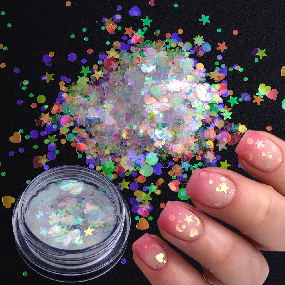 1box AB Glitter Mermaid Nail Flakes Sequins Mixed Star Heart Round Shape Paillette Nail Art Polish Holographic Decor Tips JIAB12