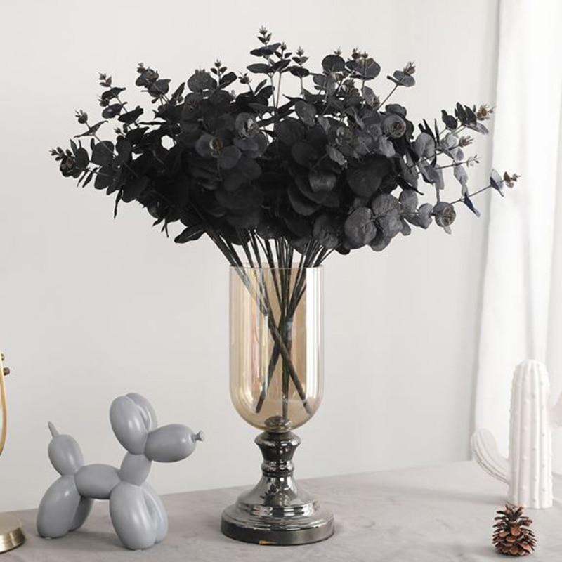 Черный искусственный цветок эвкалипта листья растения материал стены Декоративные реалистичные искусственные растения для дома магазин сад вечерние Декор