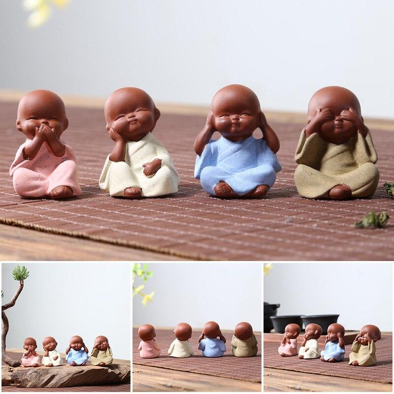 Керамические украшения, маленькая статуя монаха Будды, фиолетовая глина, керамические поделки, декоративные фигурки lpfk, миниатюры, декорат...