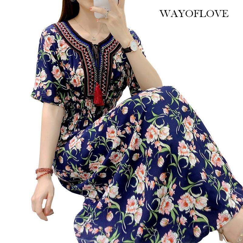 WAYOFLOVE Fashion Floral Plus Size Dress Women 2021 Tassel Prom Casual Vintage Long Dresses Summer B