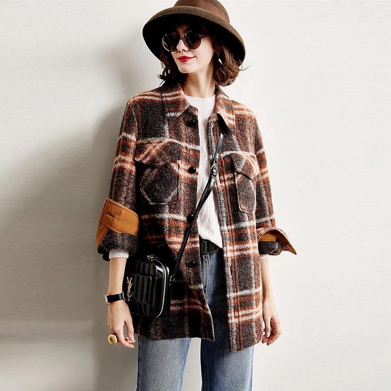 Blouse Women Shirt Casual Style 75% Wool Blend Turn Down Neck  Long Sleeve Wool Blouse Coat New Fashion