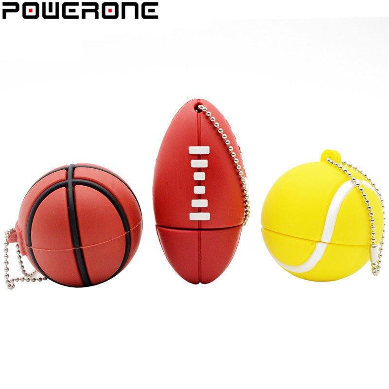 Bola de deportes POWERONE, unidad flash usb de 64GB 16GB 32GB, Memoria Pendrive de baloncesto, fútbol, Pendrive DE TENIS usb 2,0