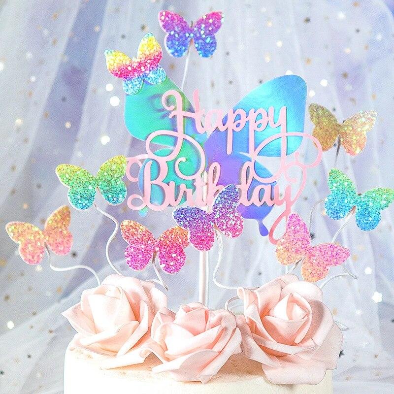 Colourful Laser Butterfly Happy Birthday Cake Topper Wedding Bride Dessert Decoration Birthday Party Cake Toppers Gifts Supplies Cake Decorating Supplies Aliexpress