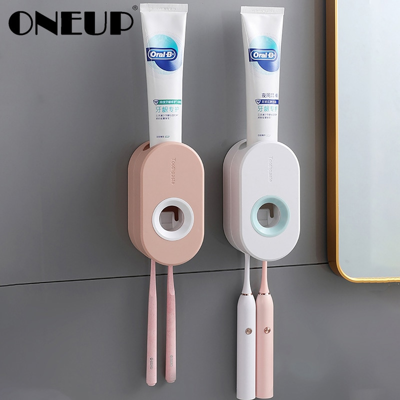 Onep-distributeur automatique avec presse-dentifrice, sans poinçon, avec étagère extrudeuse Portable de porte-brosse à dents, accessoires de salle de bains, WC