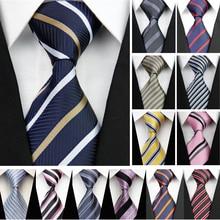 Cravate pour hommes daffaires   Costume, Slim, étroit, en Jacquard de soie, rayures bleu noir rouge, mariage Gravata